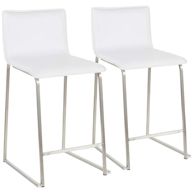 """Mara 24 1/2"""" White and Steel Counter Stools Set of 2"""