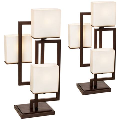 Set of 2 lighting on the square bronze accent table lamps