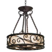 """Natural Mica Collection 17"""" Wide Pendant Chandelier"""