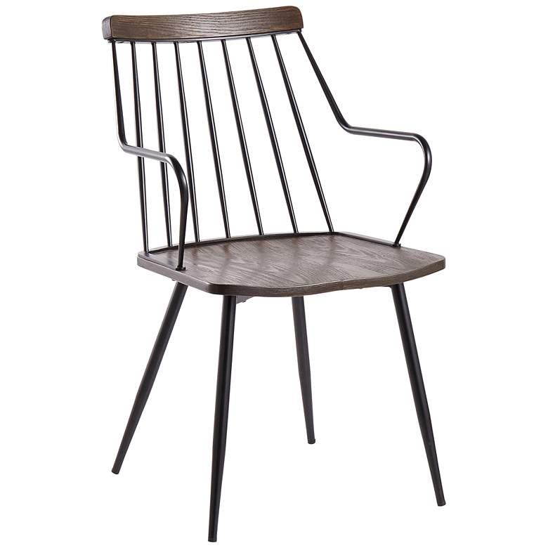 Preston Dark Walnut Wood and Black Metal Dining Chair