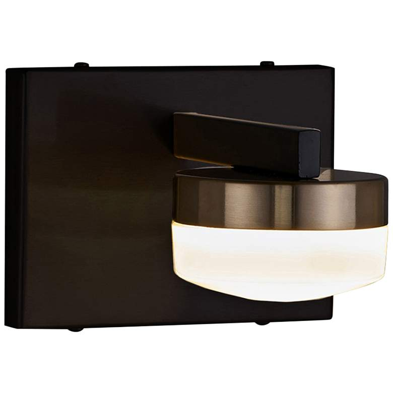 """Fusion™ Puck 4 1/2""""H Black and Brass LED Wall Sconce"""