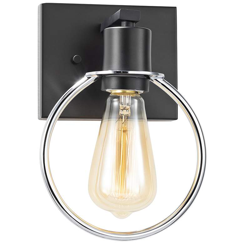 """Justice Design Volta 10""""H Matte Black and Chrome Wall Sconce"""