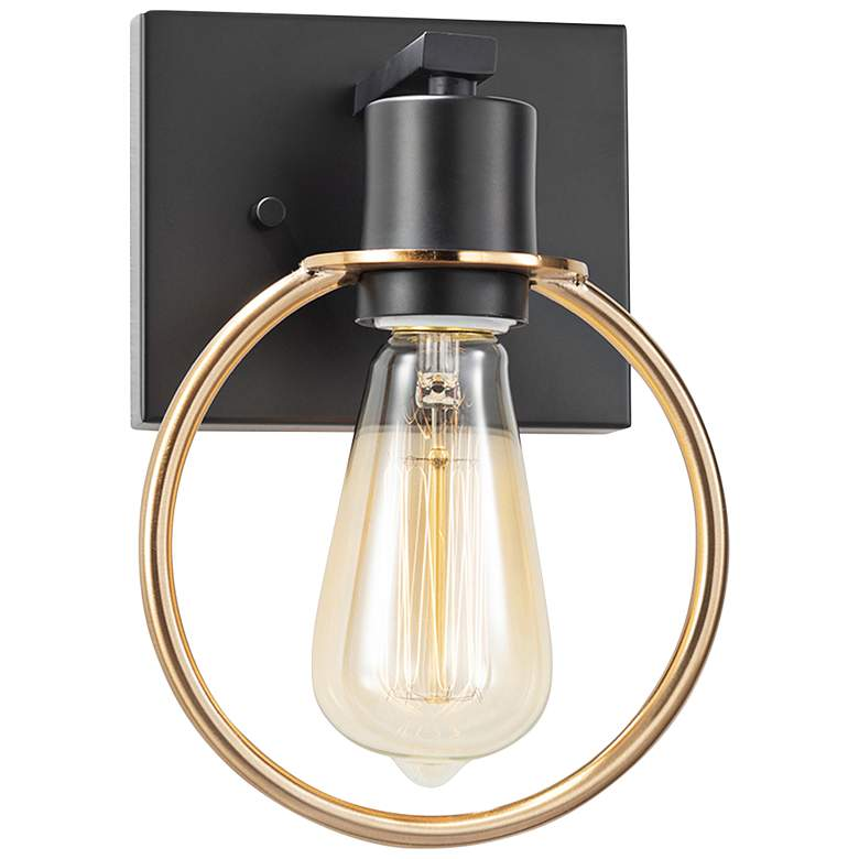 """Justice Design Volta 10""""H Matte Black and Brass Wall Sconce"""