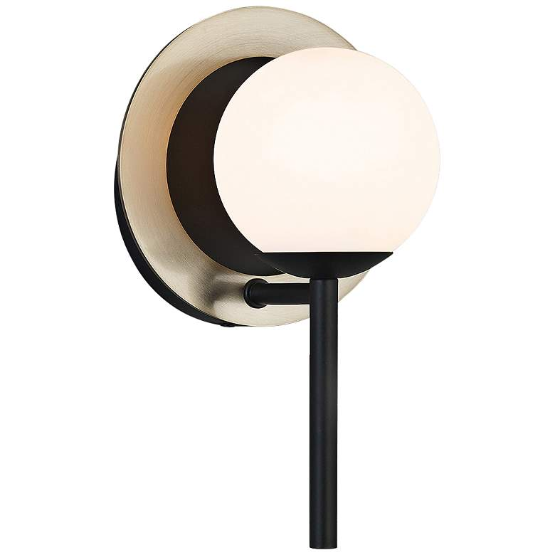 "Fusion™ Halo 9 1/2""H Black and Brass LED Wall Sconce"