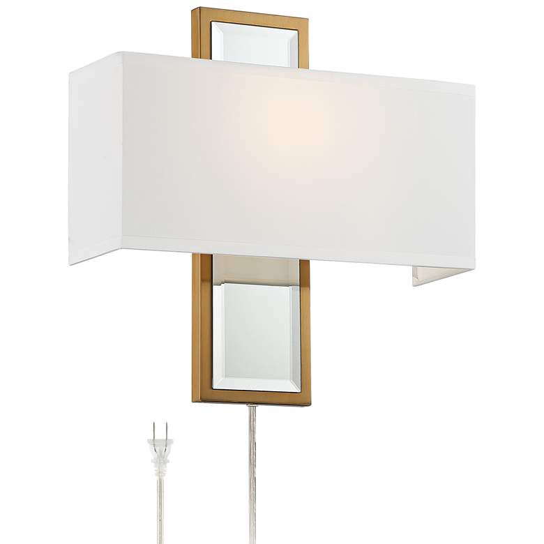 Karis Antique Brass Metal and Mirrored Plug-In Wall Lamp