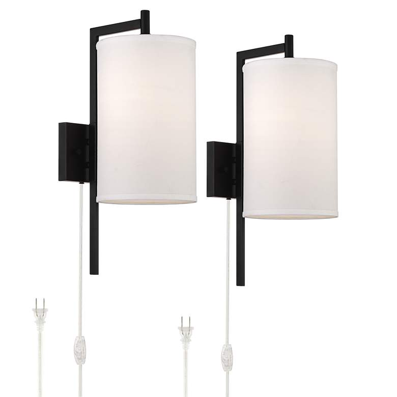 Bixby Modern Plug-In Wall Lamps Set of 2