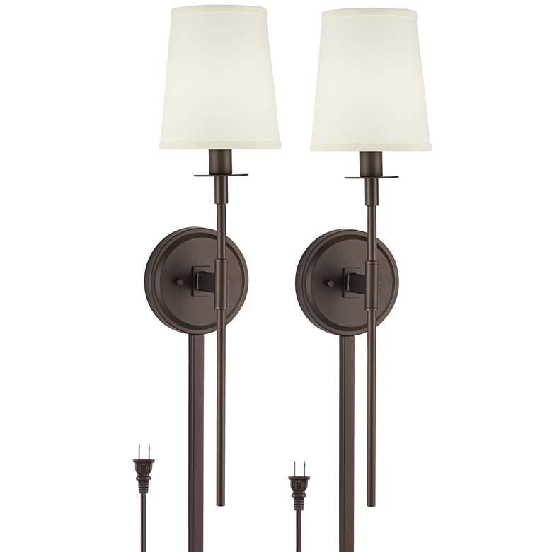 Possini Euro Stiletto Bronze Plug-in Wall Lamps Set of 2 with Cord Covers