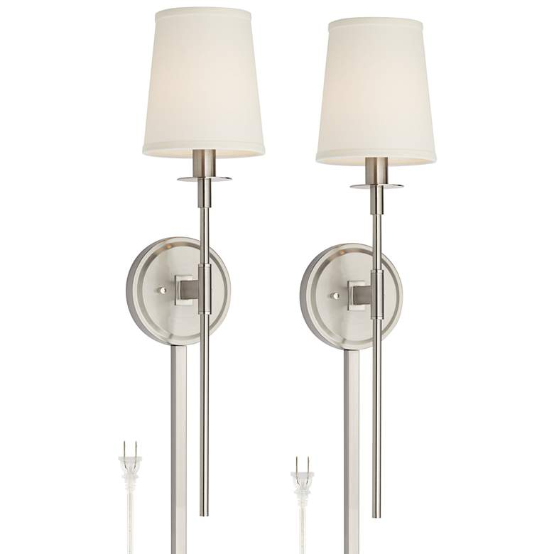 Stiletto Brushed Nickel Plug-in Wall Lamps Set of 2 with Cord Covers