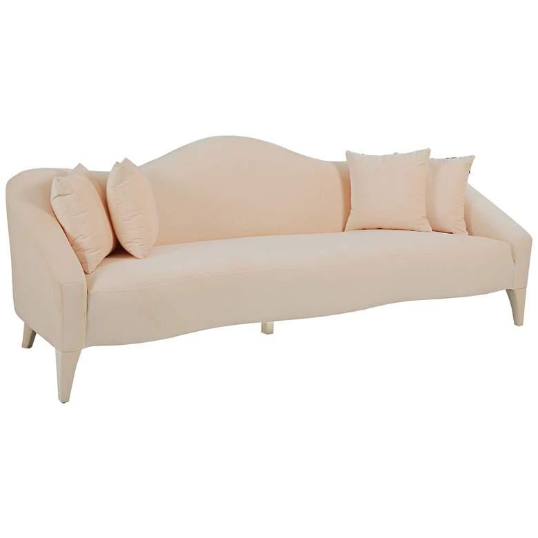 "Naya 96"" Wide Peach Velvet Sofa with Throw Pillows"