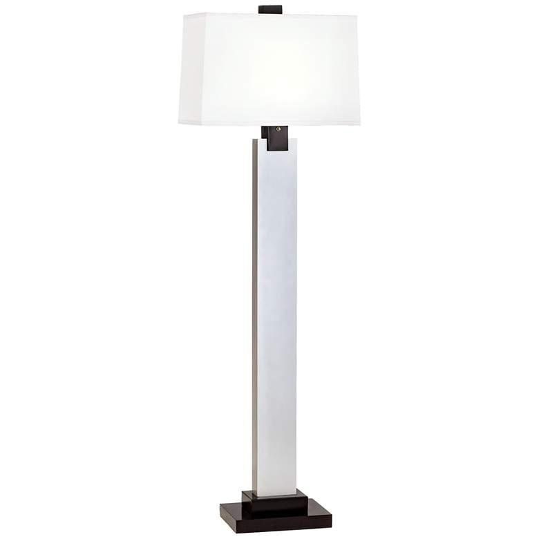 Modern Silver Wood Column Floor Lamp