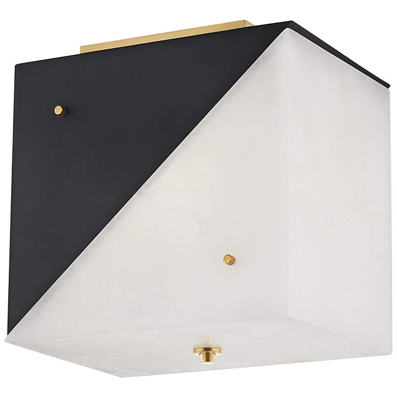 """Hudson Valley Ratio 13"""" Wide Black and White Ceiling Light"""