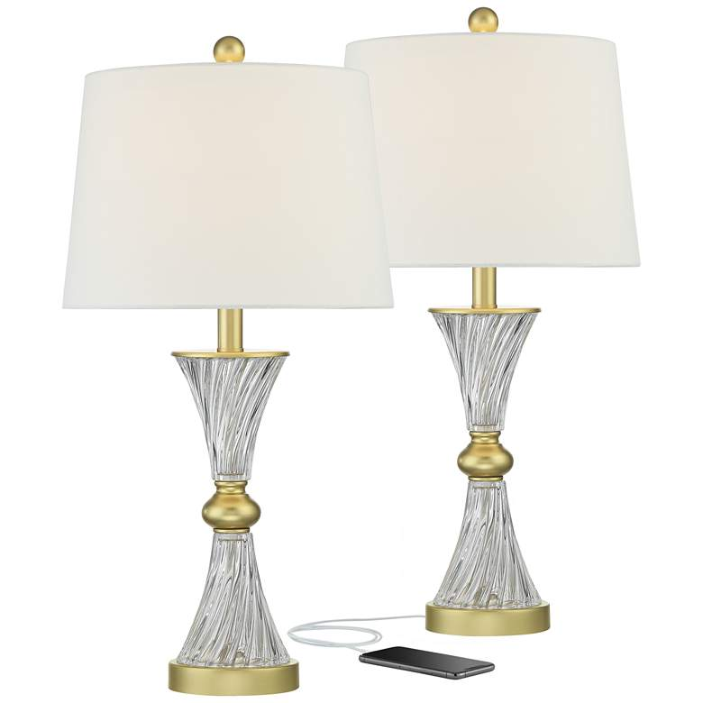 Lucas Gold and Twisting Glass USB Table Lamps Set of 2
