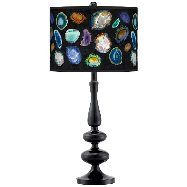 Agates and Gems II Giclee Paley Black Table Lamp