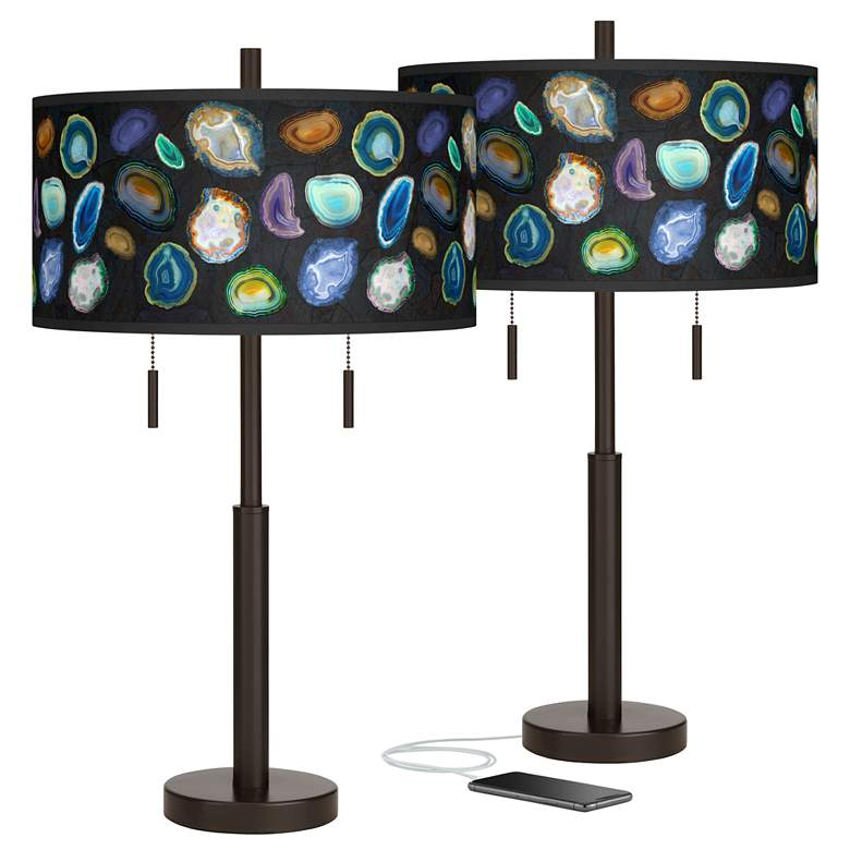 Agates and Gems II Robbie Bronze USB Table Lamps Set of 2