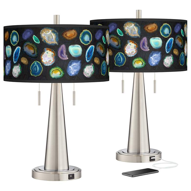 Agates and Gems II Vicki Brushed Nickel USB Table Lamps Set of 2