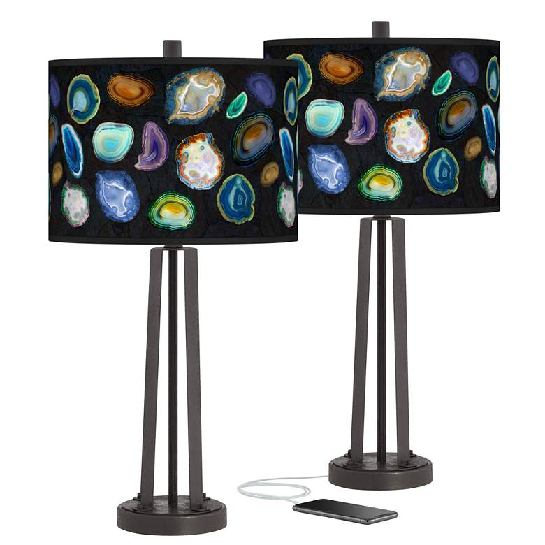 Agates and Gems II Susan Dark Bronze USB Table Lamps Set of 2