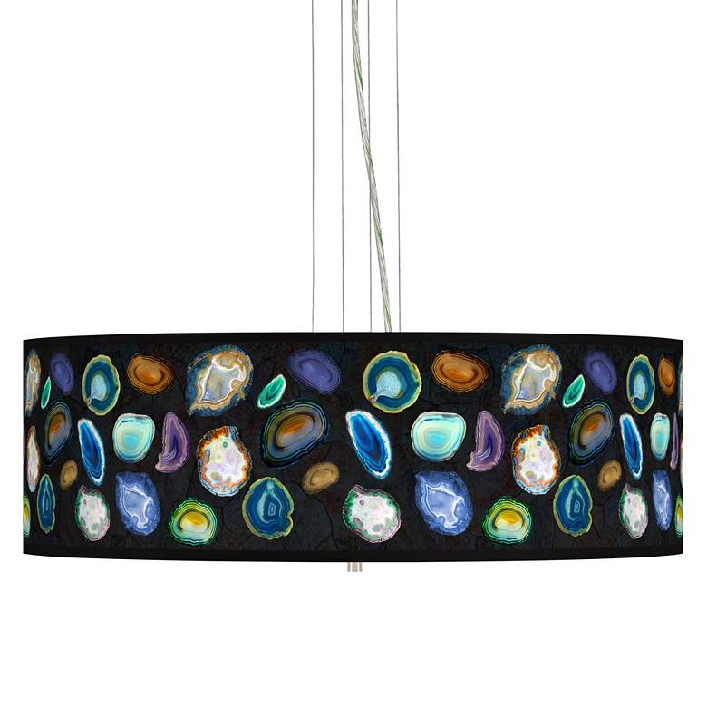 "Agates and Gems II Giclee 24"" Wide 4-Light Pendant Chandelier"