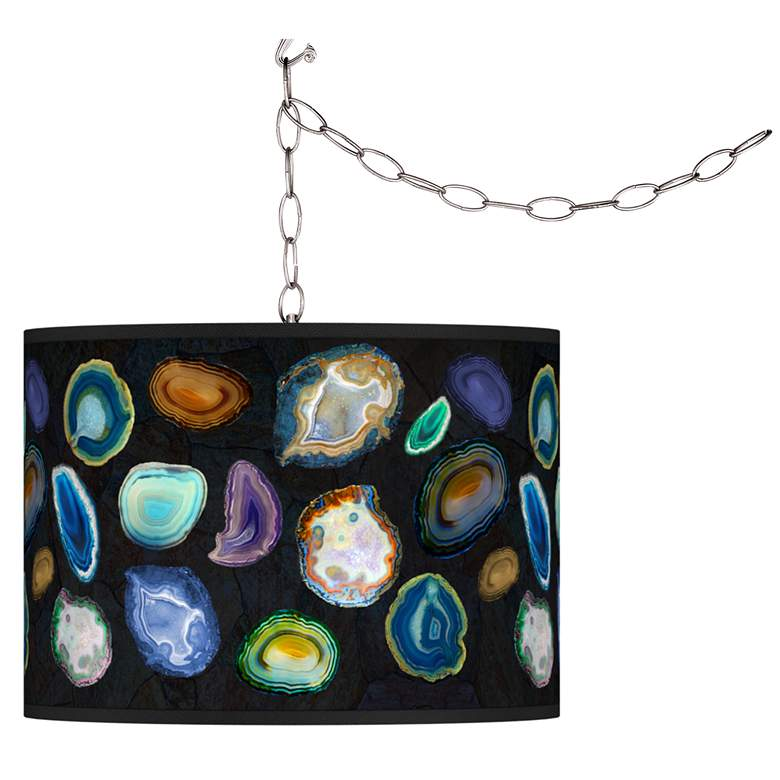Swag Style Agates and Gems II Giclee Shade Plug-In Chandelier
