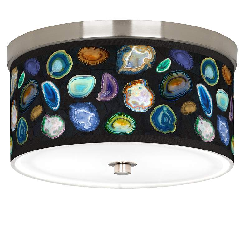 "Agates and Gems II Giclee Nickel 10 1/4"" Wide Ceiling Light"