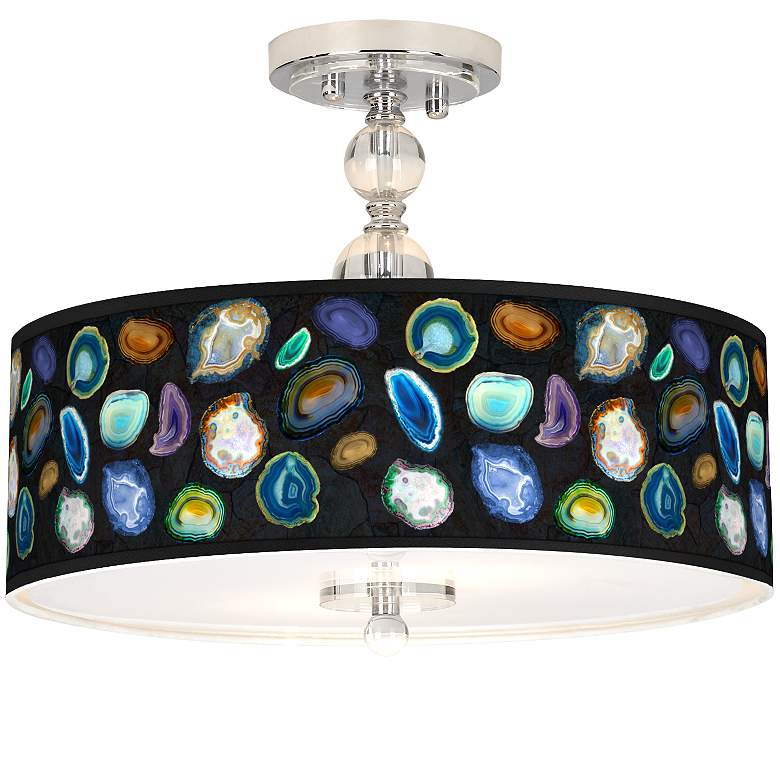 """Agates and Gems II Giclee 16"""" Wide Semi-Flush Ceiling Light"""