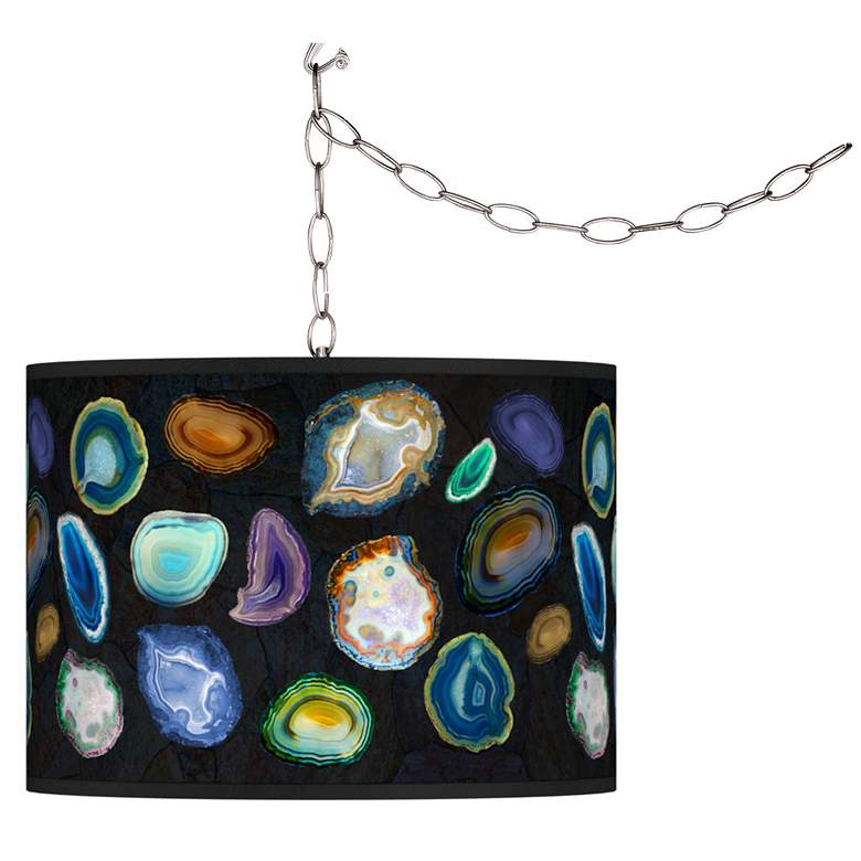 Agates and Gems II Giclee Glow Plug-In Swag Pendant
