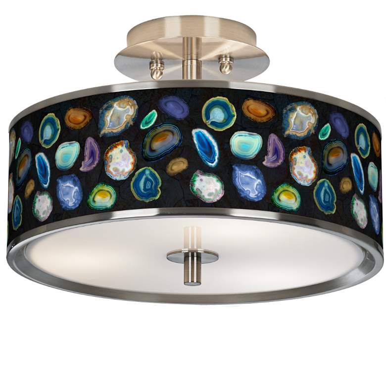 """Agates and Gems II Giclee Glow 14"""" Wide Ceiling Light"""