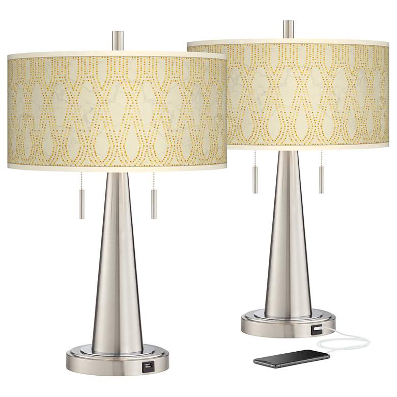 Roman Pebbles Vicki Brushed Nickel USB Table Lamps Set of 2