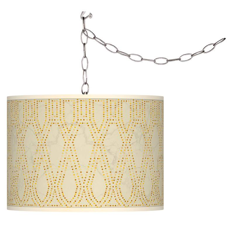 Swag Style Roman Pebbles Giclee Shade Plug-In Chandelier