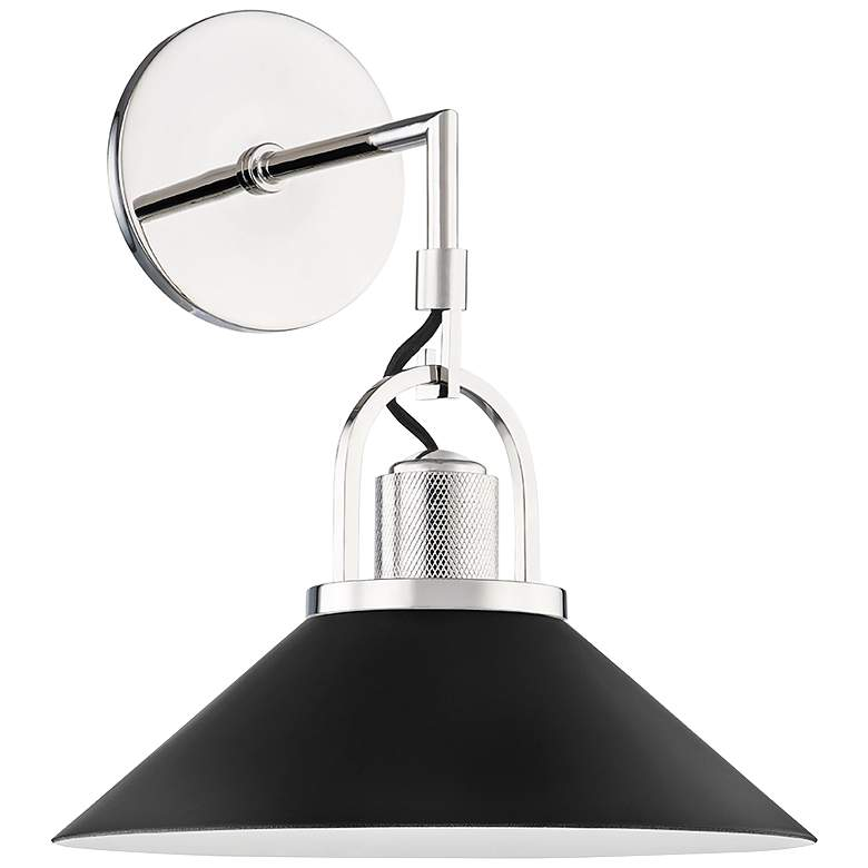 """Syosset 14"""" High Polished Nickel and Black Wall Sconce"""