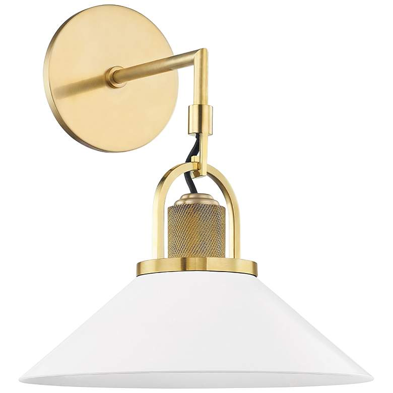 """Hudson Valley Syosset 14""""H Aged Brass and White Wall Sconce"""