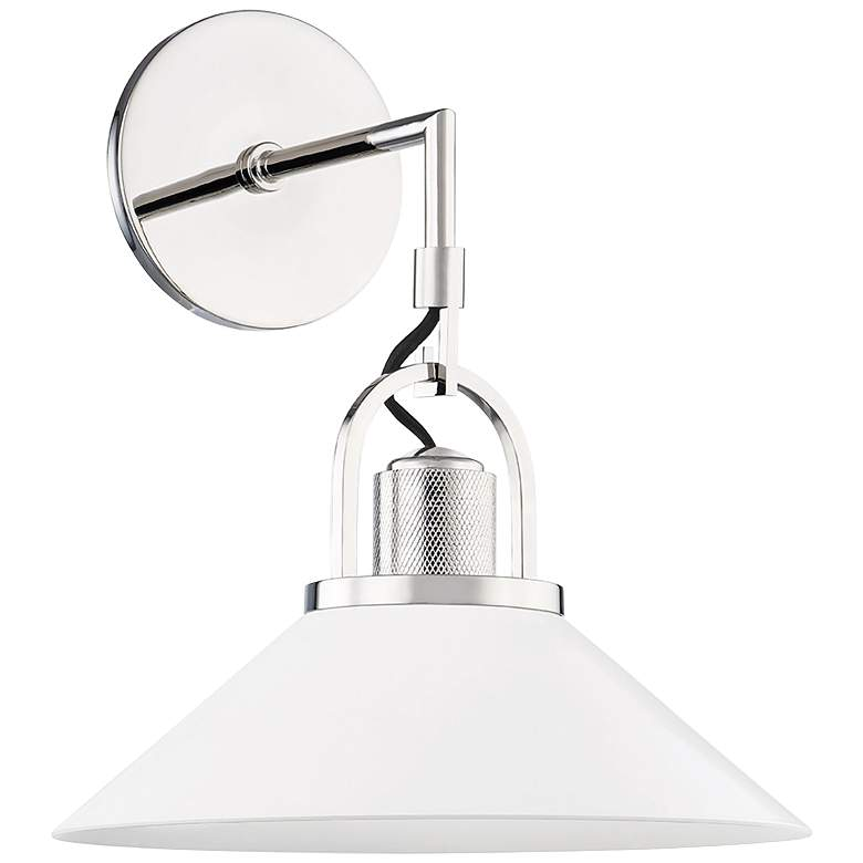 """Syosset 14"""" High Polished Nickel and White Wall Sconce"""