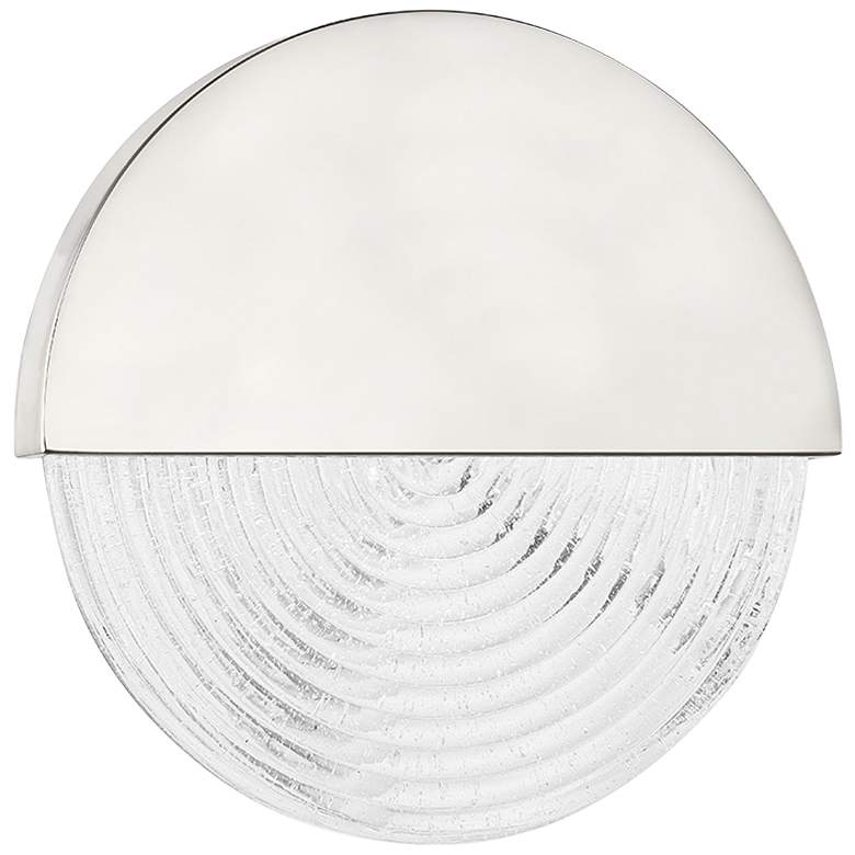 """Walden 10 3/4"""" High Polished Nickel Round LED Wall Sconce"""