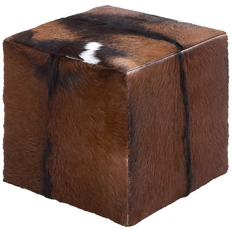 Morrison Brown Natural Skin Leather Hide Square Box Ottoman