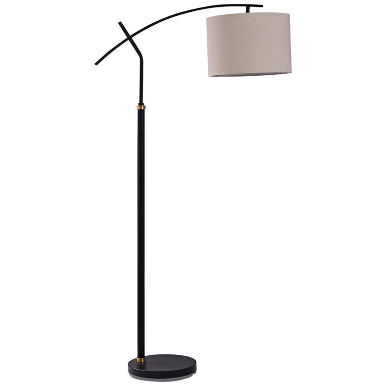 Dudley Black and Brass Metal Adjustable Arch Floor Lamp