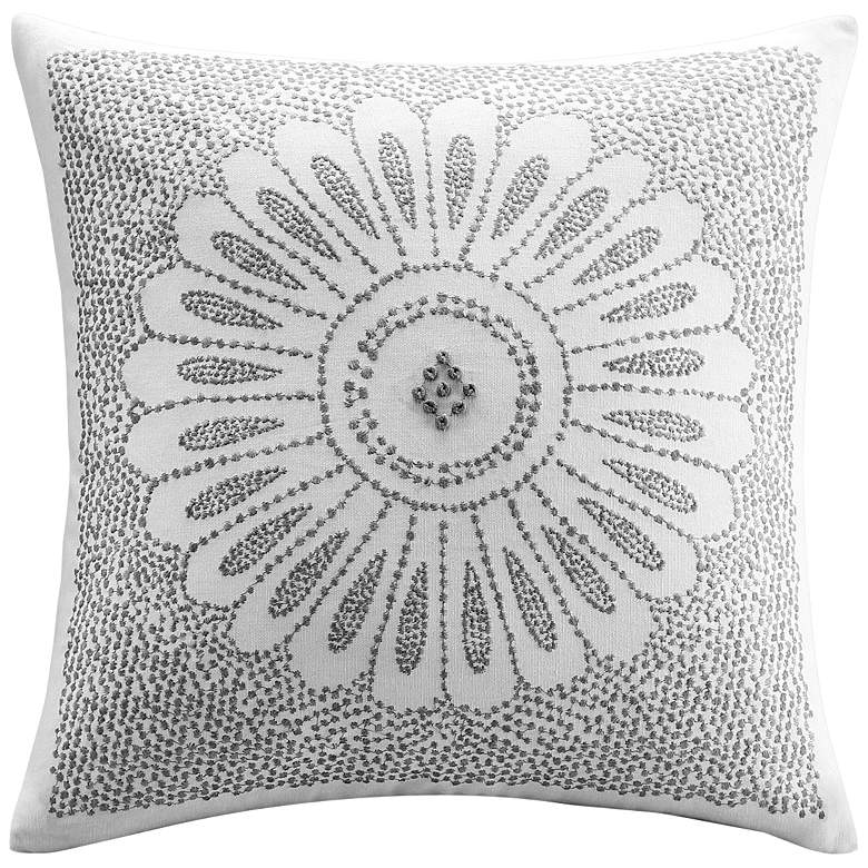 """INK + IVY Sofia Cotton Embroidered 20"""" Square Throw Pillow"""
