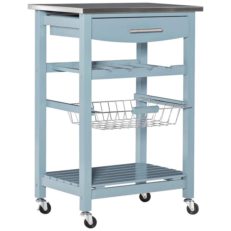 """Zoey 22 3/4"""" Wide Blue Wood and Stainless Steel Kitchen Cart"""