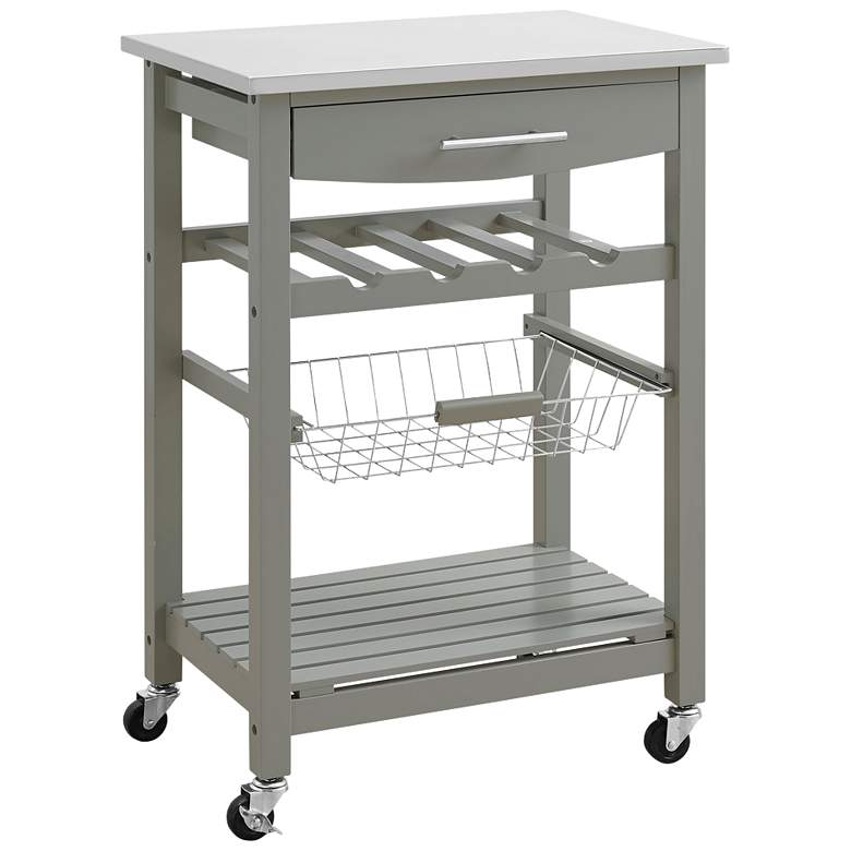 """Zoey 22 3/4"""" Wide Gray Wood and Stainless Steel Kitchen Cart"""