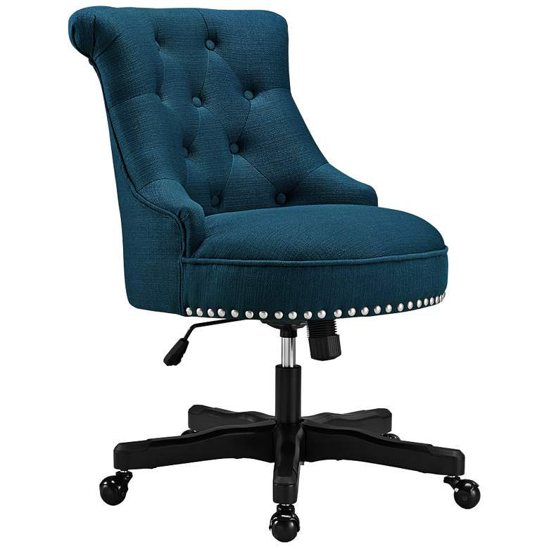 Sinclair Azure Blue Tufted Adjustable Swivel Office Chair