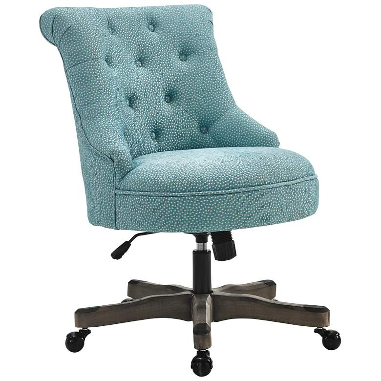 Sinclair Light Blue Tufted Adjustable Swivel Office Chair