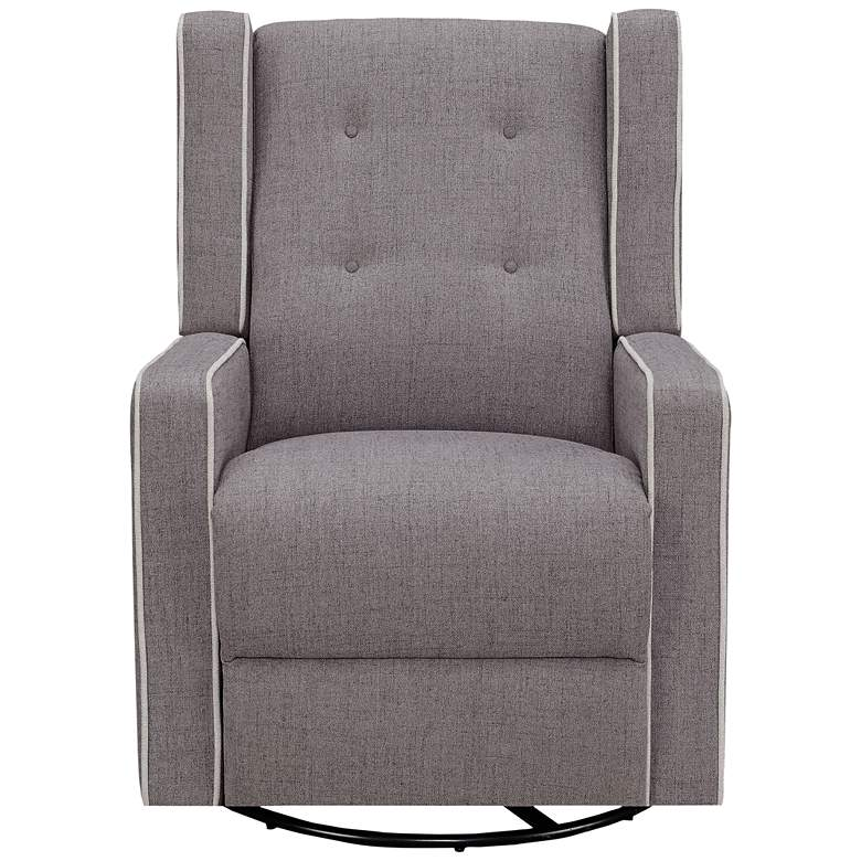 Shelter White Welted Gray Multi-Function Swivel Recliner