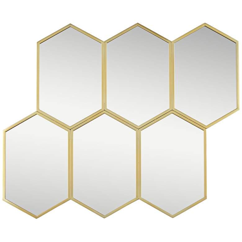 "Troye Gold Metal 35 1/2"" x 29 1/2"" 6-Hexagonal Wall Mirror"