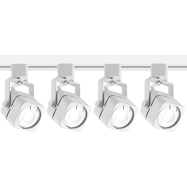 4-Light White Square LED Track Kit with Floating Canopy