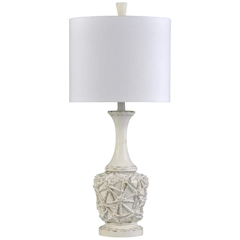 Lassa White Distressed Star Fish Urn Table Lamp