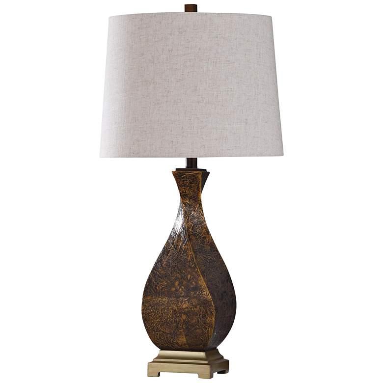 Dakota Textured Dark Brown Twisted Vase Table Lamp
