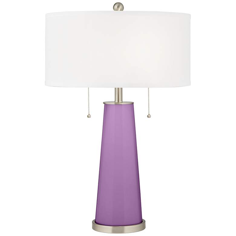 African Violet Peggy Glass Table Lamp
