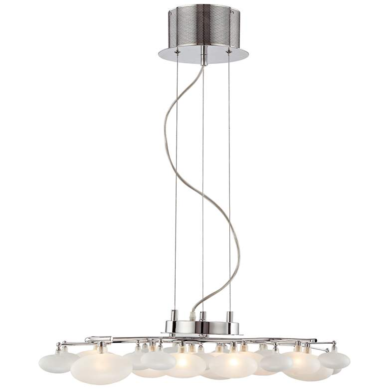 """Possini Euro Lilypad 30"""" Wide Etched Glass Modern Chandelier"""