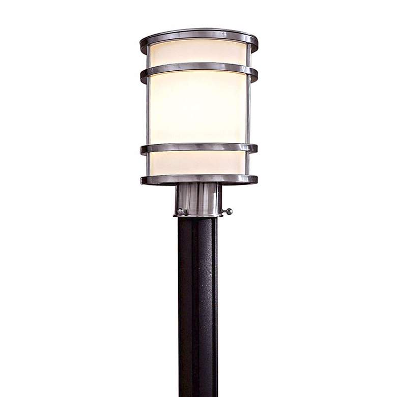 """Bay View Collection 12 1/4"""" High Steel Post Light"""