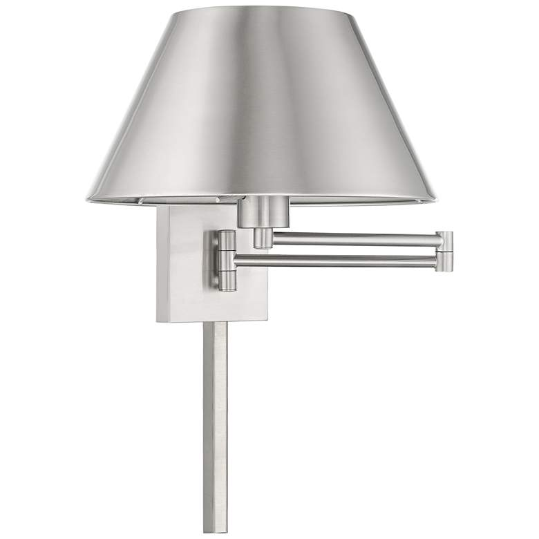 Brushed Nickel Metal Swing Arm Wall Lamp with Empire Shade