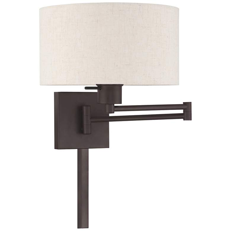 Bronze Swing Arm Wall Lamp with Oatmeal Fabric Drum Shade
