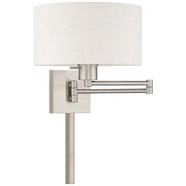 Brushed Nickel Swing Arm Wall Lamp with Oatmeal Drum Shade